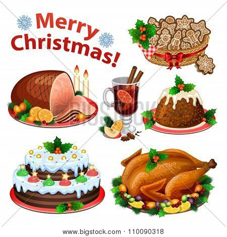 Set Of Cartoon Icons For Christmas Dinner, Traditional Christmas Food And Desserts, Roast Turkey