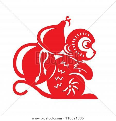 Red paper cut monkey zodiac symbol (monkey holding calabash)