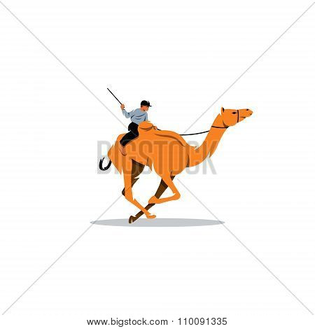 Traditional Camel Race in Middle East. Vector Illustration.