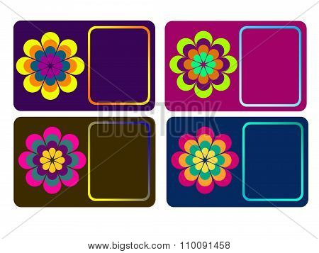 Set Of Flower Calling Cards / Business Cards / Name Cards Templates