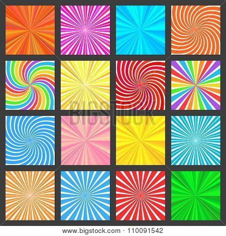 Colorful Fanning Rays Backgrounds Set