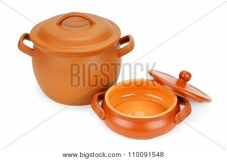 Clay Pot Isolated On White Background