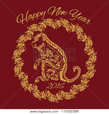 Fiery monkey year greeting card template