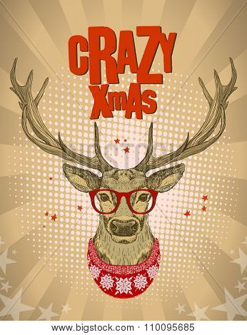Pop-art style design with hipster deer dressed in red glasses and knitted sweater, crazy xmas card, vector illustration.