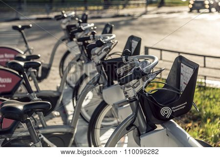 Moscow, Russia - October 29, 2015: Urban bike rental station in the Moscow. In 2015, a network of 300 bike rental stations on the 2700 bike