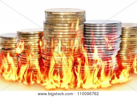 Burning Financial Savings Isolated On White Background