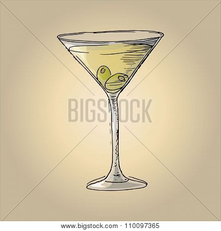 Illustration Of Martini With Olives In A Glass