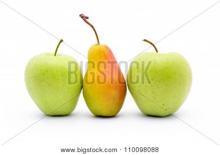 Two Apples And Pear Isolated On White Background.