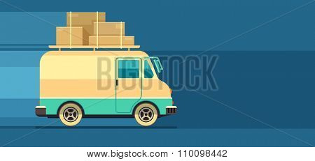 Freight cargo delivery transport minibus, vector illustration. Transparent objects used for lights and shadows drawing.