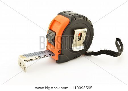 Tape Measure Isolated On A White Background Closeup