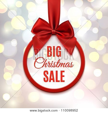 Big Christmas sale, round banner with red ribbon.