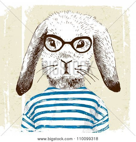 hand drawn illustration of dressed up bunny