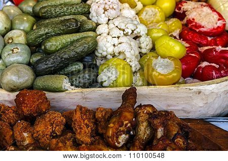 Romanian Traditional Pickles, Meatloaf And Chicken Fried Meat