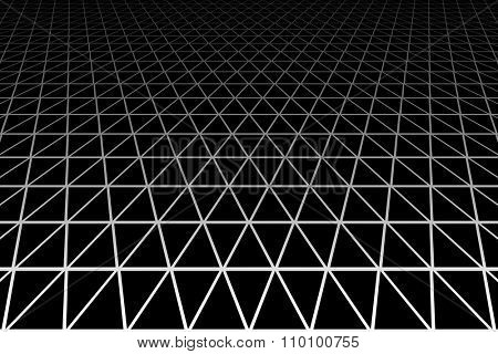 Triangles, diamonds and  hexagons geometric latticed texture. Perspective view. Vector art.