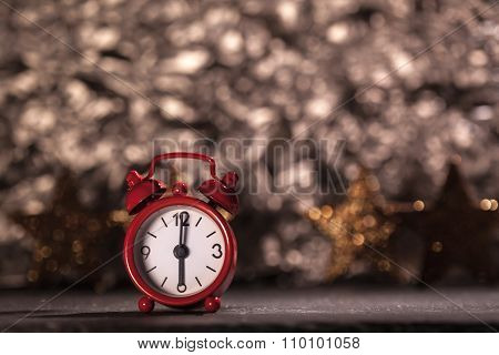 Alarm Clock Six O'clock, Christmas Decoration Background