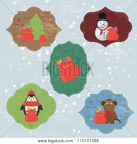Christmas Set with Notes, Stickers, Labels with winter and christmas Illustrations and Wishes. Templ