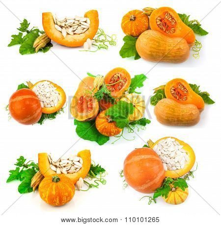 Pumpkin With Pumpkin Seeds And Green Leaves, Set