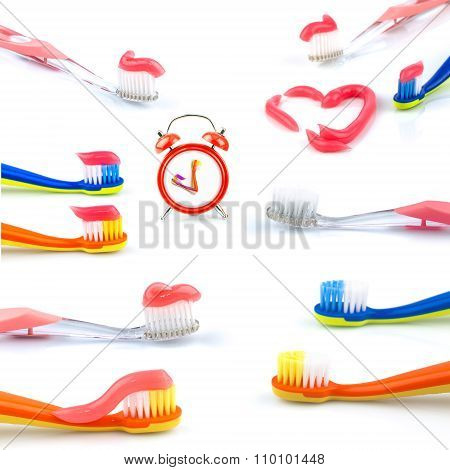 Composition From Clock, Color Toothbrushes With Toothpaste, Set