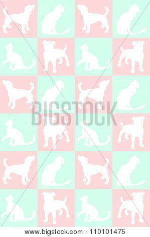 Illustration. Background With Dogs And Cats. Pattern.