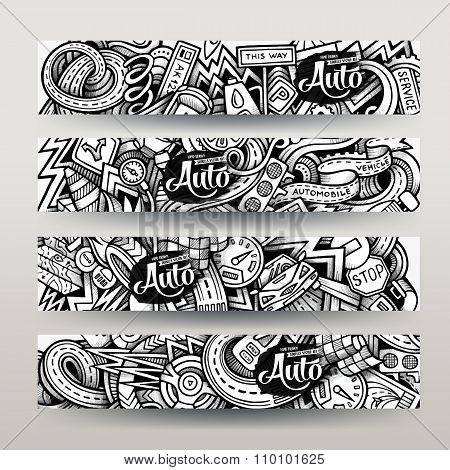 Graphics vector hand-drawn sketchy trace Automotive Doodle banners