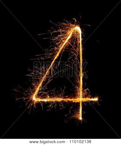 4.digit Four Made Of Firework Sparklers At Night