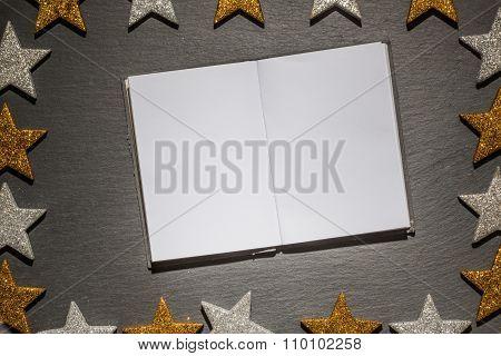 Emtpy Notepad On Slate Background, Christmas Frame