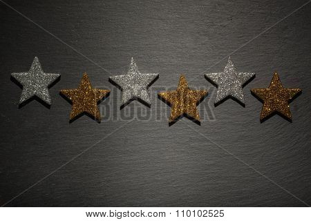 Six silver and golden stars