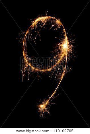 9.digit Nine Made Of Firework Sparklers At Night