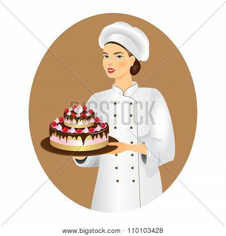Confectioner  With A Fresh Cake.