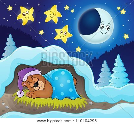 Sleeping bear theme image 3 - eps10 vector illustration.
