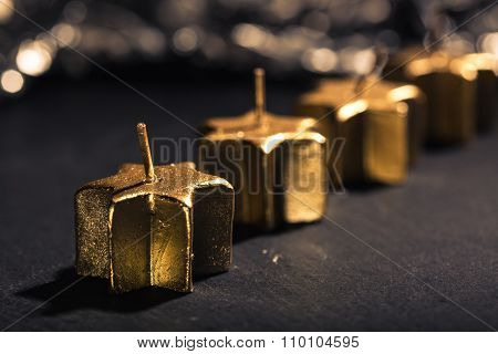 Four Golden Advent Candles In A Row
