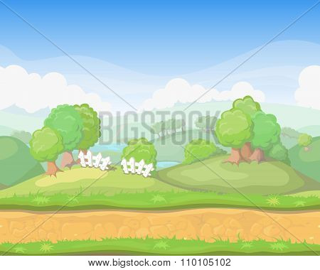 Cartoon cute  country seamless horizontal landscape, game background