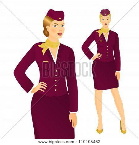 Stewardess In  Uniform