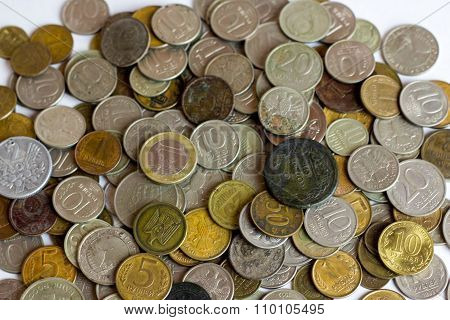 Old Russian coins.  Scattered coins in full-frame background.