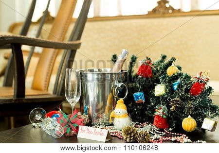 Christmas Decorations With Champagne Wine