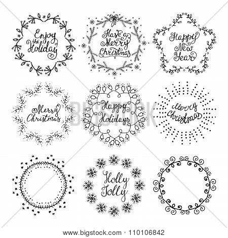 Christmas Handdrawn Design Elements. Wreaths,lettering.