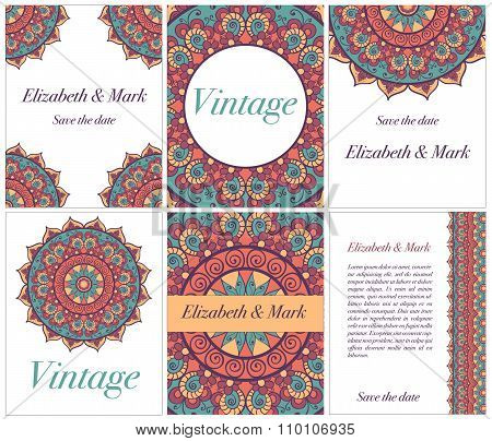 Collection Of Ethnic Cards And Wedding Invitations With Indian Ornament.