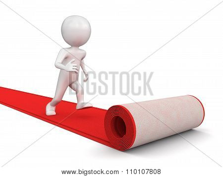 Red Carpet and man (clipping path included)