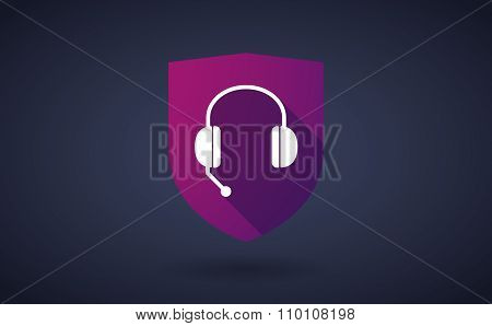 Long Shadow Shield Icon With  A Hands Free Phone Device