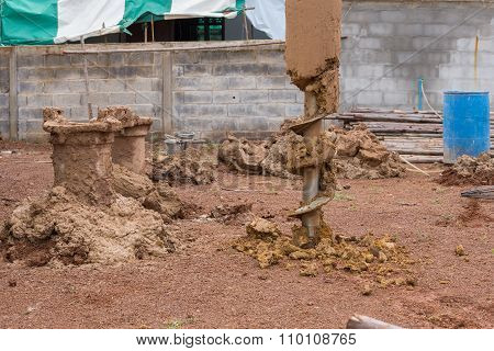 Construction Machine For Drilling Holes In The Ground