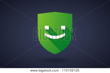 Long Shadow Shield Icon With A Smile Text Face