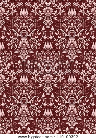 Burgundy floral damask seamless pattern