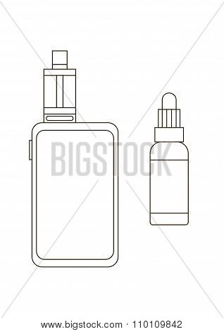 Outline vaporizer and atomizer for electronic cigarette and vaping isolated on the white background