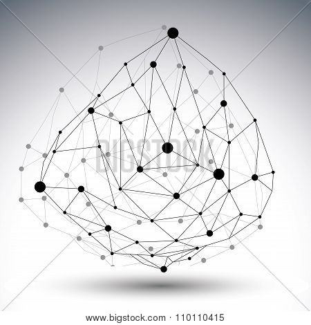 Spatial Technological Shape With Shadow, Polygonal Single Color Eps8 Wireframe Creative Object Made