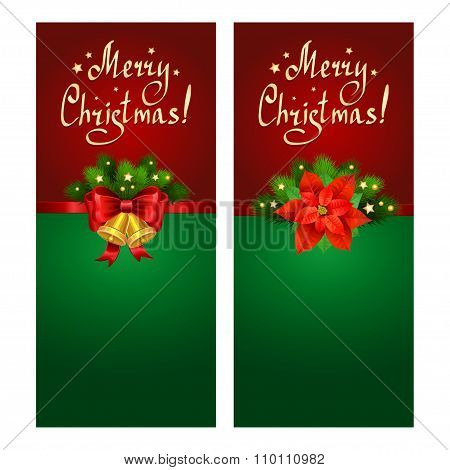 Christmas Banner Set With Fir Branches, Christmas Star-poinsettia And Bells.