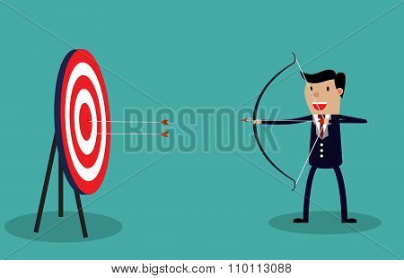 Cartoon businessman with bow and arrow
