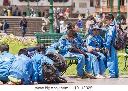 School Children Playing Outdoors In Cusco, Peru