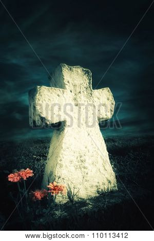 Dark Night Landscape With Flowers At Abandoned Grave