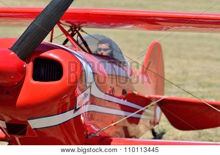 Model Airplane Engine And Propeller With A Doll-pilot