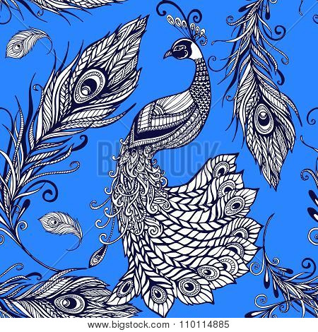 Peacock bird feathers seamless background pattern
